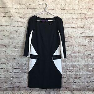Laundry Shelli Segal 2 Zipper Fitted Black Dress